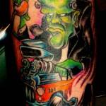 custom color rat fink frankenstein hot rod tattoo by Adal