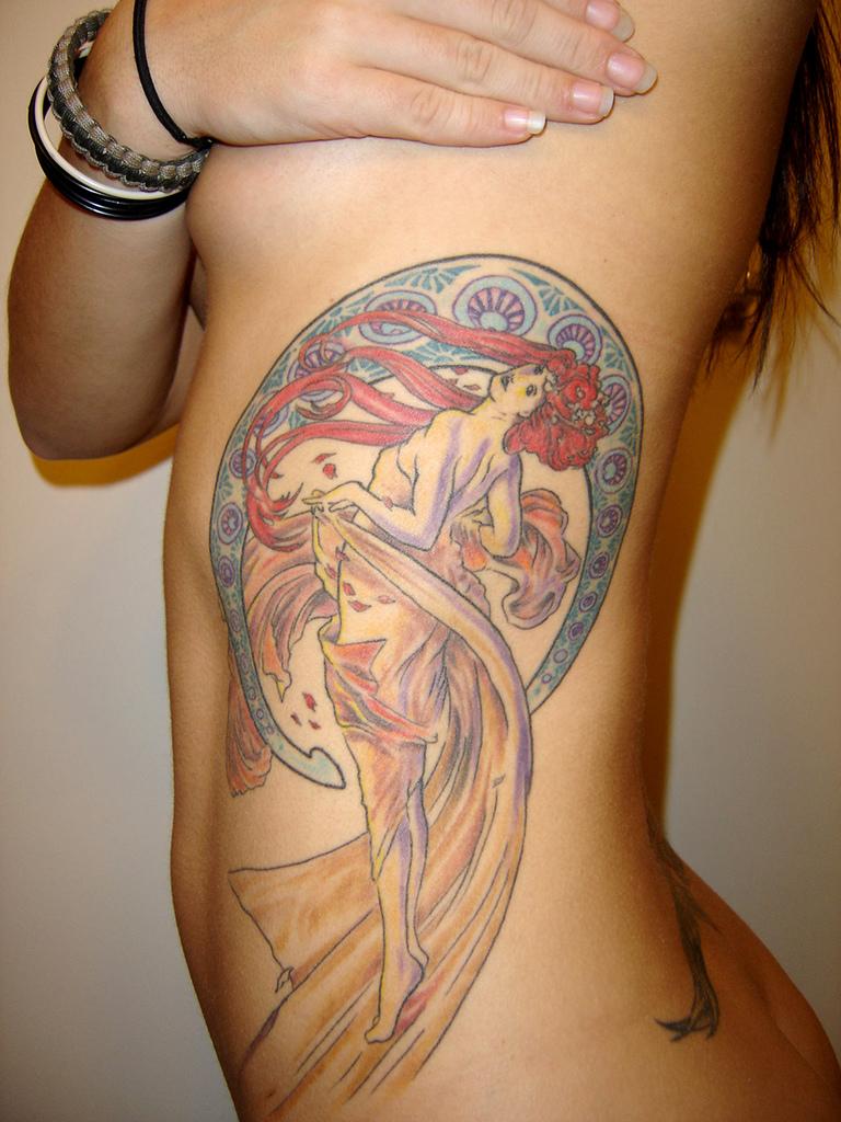 Alphonse Mucha Art Nouveau color flowing red hair feminine beauty tattoo