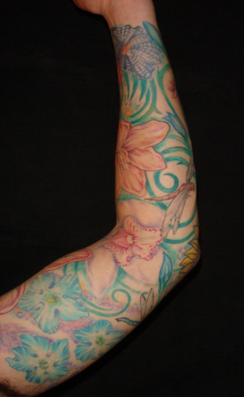 Tattoo sleeves colorful modern tattoos majestic tattoo nyc for How to make a tattoo sleeve