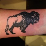 furry bison animal arm tattoo by Adal