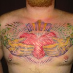psychedelic fractal heart chest hands tattoo by Adal