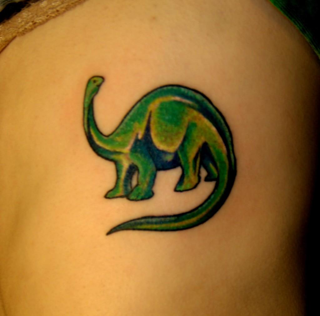 green brontosaurus apatosaurus dinosaur side tattoo