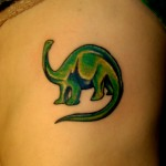 green brontosaurus apatosaurus dinosaur side tattoo