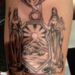 custom New York state seal excelsior arm tattoo by Adal