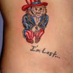 Uncle Sam lost monkey American circus tattoo