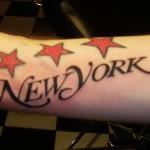 New York Magazine NYC font wrist tattoo in SoHo