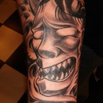 black and grey Japanese Oni mask sleeve by Majestic Tattoo
