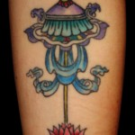 blue Buddhist parasol eightfold auspicious path with lotus tattoo