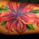 Full color tiger lily lilly tattoo