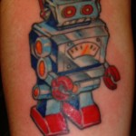 custom color vintage toy robot tattoo by Adal