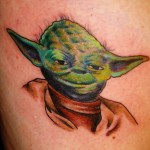Star Wars color Yoda portrait tattoo