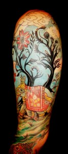 visionary Asian Tree Clouds Arabic Moorish Elephant sleeve tattoo by Majestic SoHo NYC