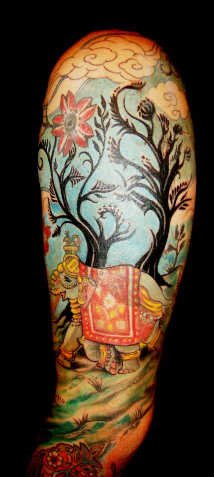 visionary Asian Tree Clouds Arabic Moorish Elephant sleeve tattoo Majestic Tattoo NYC