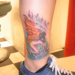 psychedelic fractal kneeling fairy with fire wings ankle tattoo tribeca studio