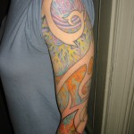 psychedelic color inverted fractal spirals bohemian arm sleeve tattoo by Adal
