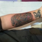 Lion arm tattoo cover up