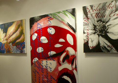 Urban Realism canvas paintings by Arjuna Watson at Majestic Tattoo NYC Soho Tribeca studio gallery