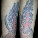 flame arm sleeve tattoo to be covered up