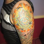 full color hamsa hand owl sleeve tattoo by Adal