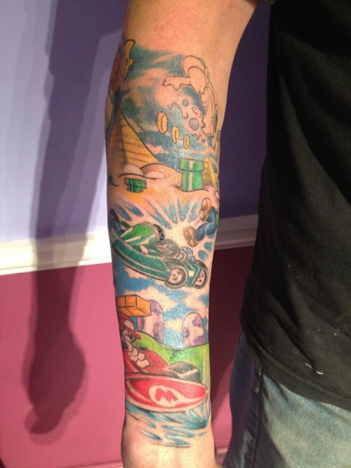 colorful mario kart tattoo sleeve Majestic Tattoo NYC