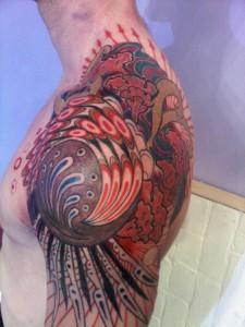 Organic fractal color tattoo in progress at Majestic Tattoo NYC
