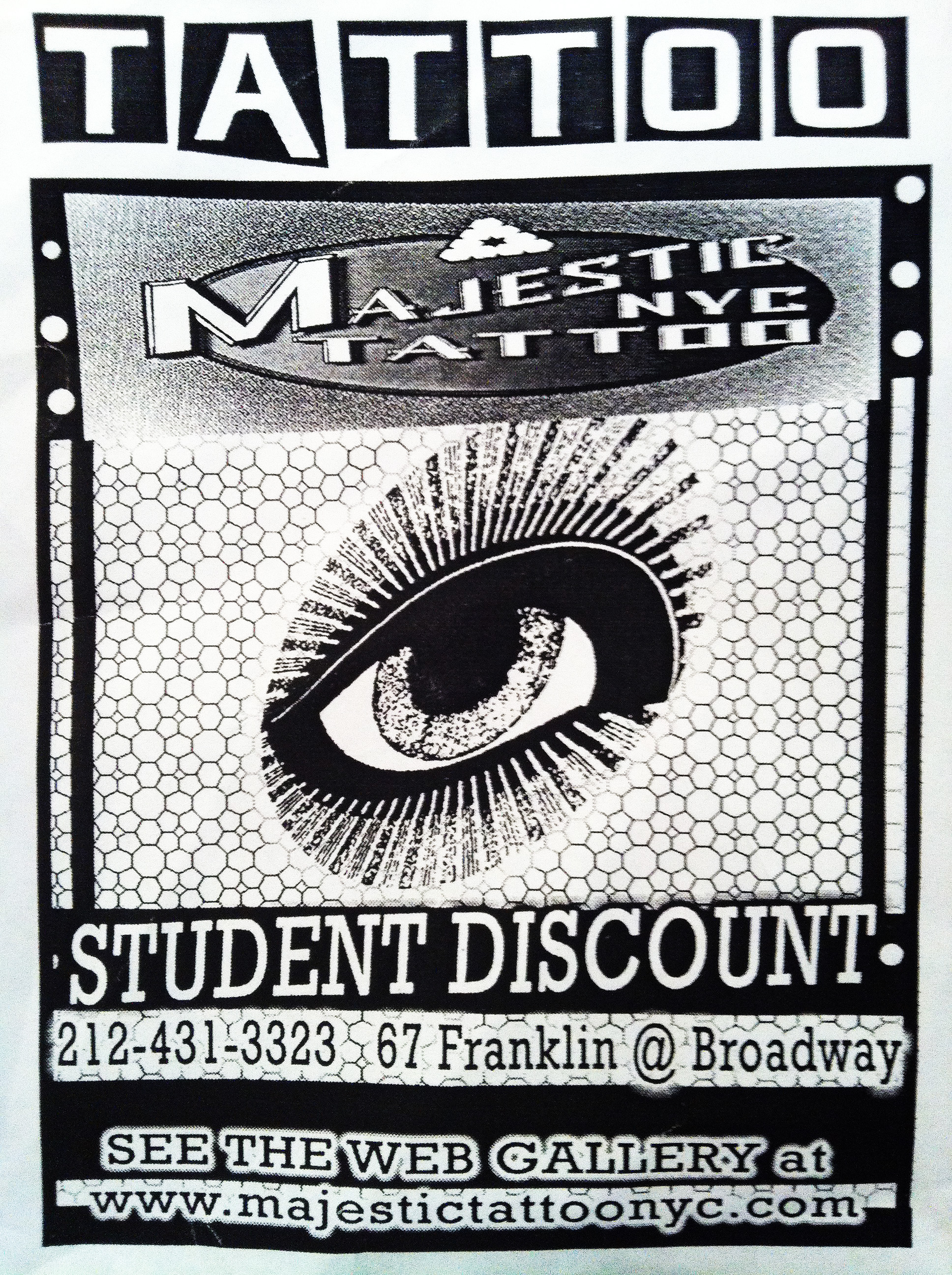 student and fraternity discounts at majestic tattoo nyc