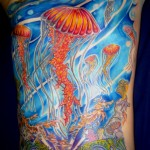 Full Color Jellyfish Tattoo Backpiece
