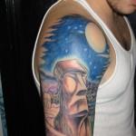 easter island head modern art tattoo