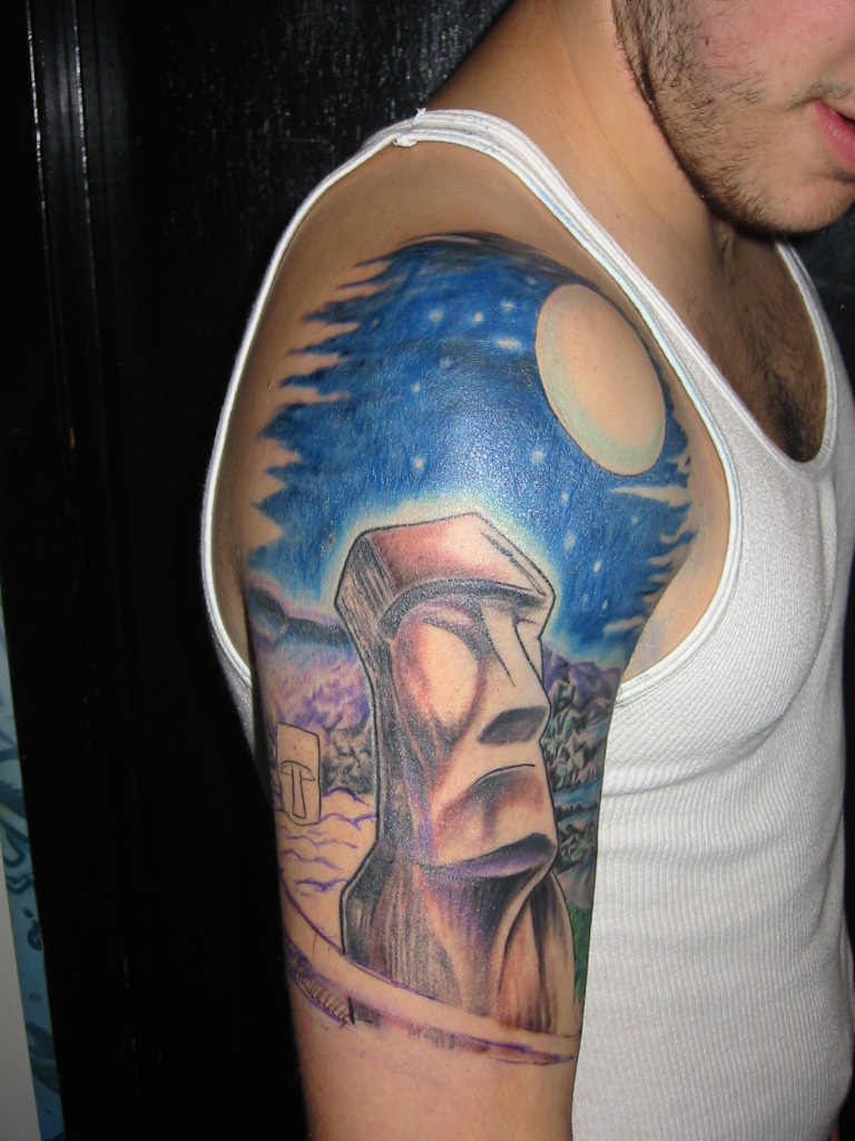 easter island head modern art tattoo