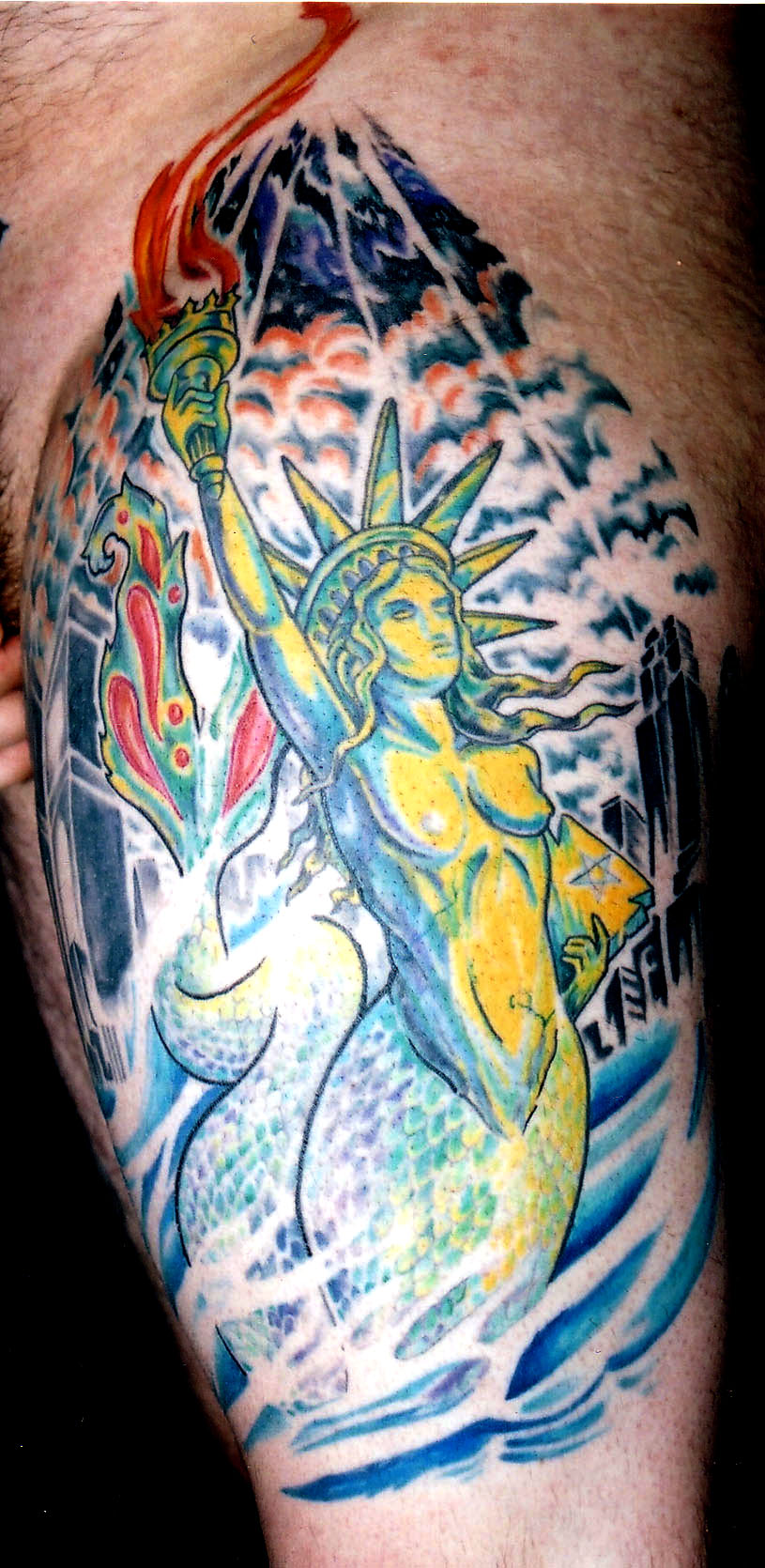 statue of liberty mermaid new york city transformation tattoo majestic tattoo nyc