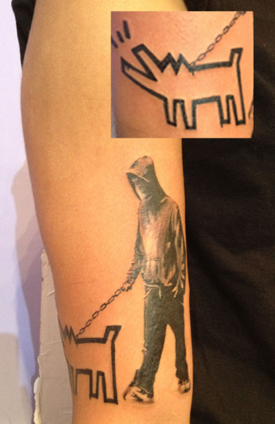 banksy tattoo keith haring tattoo walking the dog tattoo street art modern art arm tattoo
