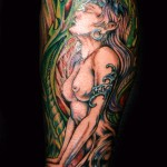 woman biomechanical bio tattoo sleeve girl colorful Majestic Tattoo NYC