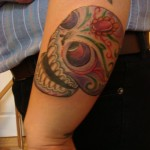 colorful sugar skull tattoo design arm wrist Majestic Tattoo NYC
