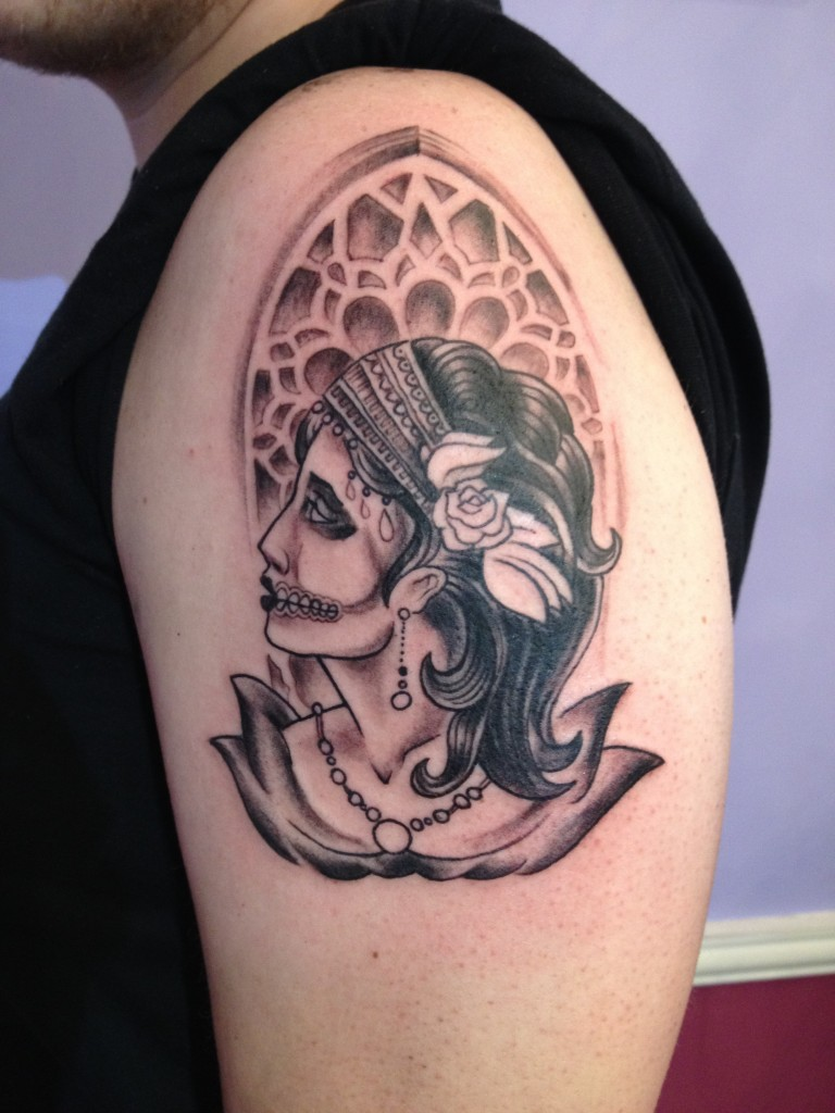 sugar skull tattoo dia de los muertos day of the dead black grayscale stained glass gypsy woman Majestic Tattoo NYC