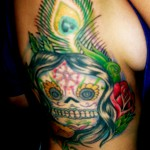 intricate colorful sugar skull tattoo design psychedelic peyote Majestic Tattoo NYC
