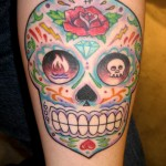 colorful sugar skull tattoo dia de los muertos rose diamond Majestic Tattoo NYC