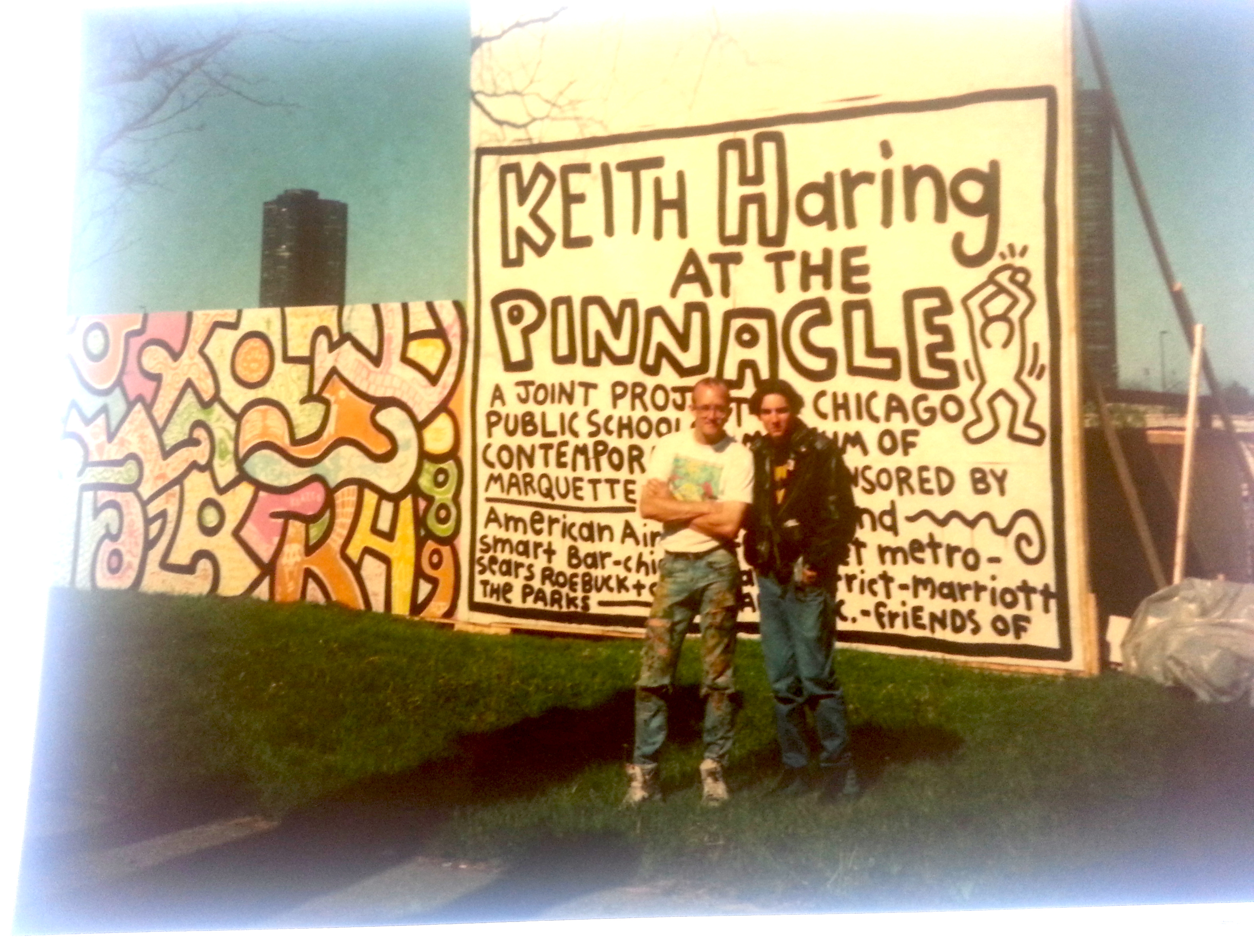 Adal with his hero, Keith Haring, in high school