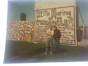 Keith Haring and Adal Hernandez in 1989