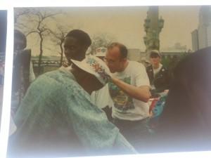 Keith Haring signing children's shirts at the Pinnacle 1989