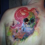 colorful psychedelic abstract skull snake brushstroke watercolor tattoo geometric Majestic Tattoo NYC