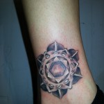 custom grayscale gradient mandala rosette 3D tattoo ankle Majestic Tattoo NYC