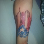 New York Puerto Rican Nuyorican pride tattoo colorful twin towers World Trade Center tattoo WTC Majestic NYC