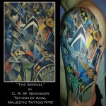 Christopher Richard Wynne Nevinson the Arrival tattoo by Adal Majestic Tattoo NYC