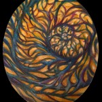 circular abstract painting by adal majestic nyc tattoo