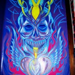 double down skull mural painting