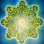 green star abstract psychedelic fractal oil painting