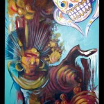 abstract day of the dead canvas oil painting by adal at majestic tattoo