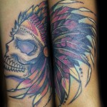 native american dreamcatcher skull tattoo cover up
