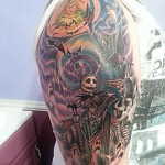 nightmare before christmas jack skellington tim burton cartoon tattoo sleeve