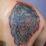 oni japanese gladiator traditional mask shoulder cover up tattoo